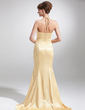 Trumpet/Mermaid Halter Sweep Train Charmeuse Mother of the Bride Dress (008016173)