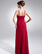 Sheath/Column V-neck Floor-Length Chiffon Evening Dress With Ruffle (008015880)