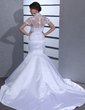 Trumpet/Mermaid Strapless Chapel Train Satin Wedding Dress With Bow(s) (002012701)