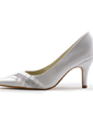 Women's Satin Stiletto Heel Closed Toe Pumps With Rhinestone (047005363)