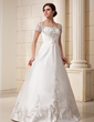 A-Line/Princess Square Neckline Floor-Length Satin Wedding Dress With Embroidered Ruffle Beading Sequins (002012175)