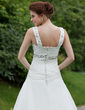 A-Line/Princess V-neck Floor-Length Organza Wedding Dress With Ruffle Beading (002001314)