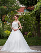 Ball-Gown Strapless Chapel Train Satin Organza Wedding Dress With Ruffle Flower(s) Bow(s) (002012180)