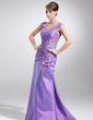 A-Line/Princess V-neck Sweep Train Taffeta Mother of the Bride Dress With Ruffle Lace Beading (008006027)