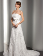 A-Line/Princess Strapless Court Train Tulle Lace Wedding Dress With Beading Sequins Bow(s) (002012170)