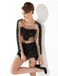Sheath/Column Scoop Neck Short/Mini Tulle Cocktail Dress With Beading Sequins (016008306)