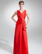 A-Line/Princess V-neck Floor-Length Charmeuse Evening Dress With Ruffle Crystal Brooch (017002579)
