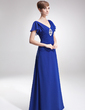 A-Line/Princess V-neck Floor-Length Chiffon Mother of the Bride Dress With Beading Cascading Ruffles (008005691)
