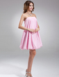 A-Line/Princess Strapless Short/Mini Taffeta Bridesmaid Dress (022020774)