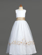 A-Line/Princess Floor-length Flower Girl Dress - Organza/Satin Sleeveless Scoop Neck With Embroidered/Sash (010007401)