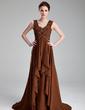 A-Line/Princess Sweetheart Court Train Chiffon Mother of the Bride Dress With Ruffle Beading Cascading Ruffles (008018964)