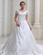 Ball-Gown Sweetheart Chapel Train Satin Organza Wedding Dress With Embroidered Beading (002011993)