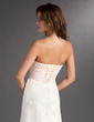 Empire Strapless Sweep Train Chiffon Lace Bridesmaid Dress With Ruffle (007016857)