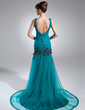 Trumpet/Mermaid V-neck Court Train Tulle Mother of the Bride Dress With Ruffle Appliques Lace (008015943)