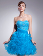 A-Line/Princess Sweetheart Knee-Length Organza Homecoming Dress With Beading Cascading Ruffles (022010247)