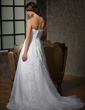 A-Line/Princess Strapless Court Train Satin Organza Wedding Dress With Lace Beading Pleated (002001223)