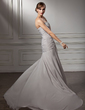 A-Line/Princess Sweetheart Court Train Chiffon Mother of the Bride Dress With Ruffle Beading Cascading Ruffles (008006025)