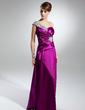 Linia A/Księżniczka Jednoramienna Do Podłogi Charmeuse Suknia dla Mamy Panny Młodej Z Żabot Perełki (008015365)