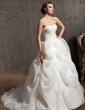 Ball-Gown Sweetheart Chapel Train Satin Organza Wedding Dress With Embroidered Beading (002014946)