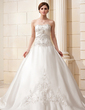 Ball-Gown Sweetheart Cathedral Train Satin Wedding Dress With Embroidered Beading (002011582)