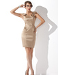 Sheath/Column V-neck Short/Mini Satin Cocktail Dress (016013762)