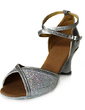 Leatherette Sparkling Glitter Heels Sandals Latin Dance Shoes With Ankle Strap (053013540)