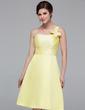 A-Line/Princess One-Shoulder Knee-Length Satin Bridesmaid Dress With Ruffle Beading Flower(s) (007037251)