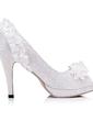 Kadın Lace İnce Topuk Peep Toe Pompalar Ile İmitasyon İnci Çiçek (047056260)