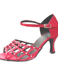 Women's Satin Heels Sandals Latin With Rhinestone Dance Shoes (053013502)