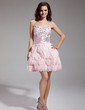 A-Line/Princess Sweetheart Short/Mini Feather Cocktail Dress With Beading (016019126)