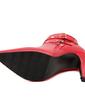 Suni deri İnce Topuk Pompalar Kapalı Toe Bot Ayak bileği Boots Ile Perçin Toka ayakkabı (088057552)