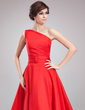 A-Line/Princess One-Shoulder Asymmetrical Taffeta Evening Dress With Ruffle (017020673)