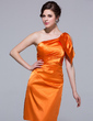 Sheath/Column One-Shoulder Knee-Length Charmeuse Bridesmaid Dress With Cascading Ruffles (007037253)