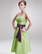 A-Line/Princess Strapless Knee-Length Taffeta Bridesmaid Dress With Ruffle Sash Bow(s) (007001012)