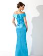 Syrena Off-the-ramię Do Podłogi Charmeuse Suknia dla Mamy Panny Młodej Z Żabot (008005637)