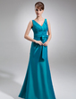 Trumpet/Mermaid V-neck Floor-Length Taffeta Bridesmaid Dress With Ruffle Bow(s) (007001909)
