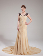 Trumpet/Mermaid V-neck Court Train Chiffon Evening Dress With Ruffle Lace Beading (017019746)