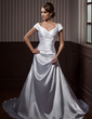 A-Line/Princess Off-the-Shoulder Court Train Charmeuse Wedding Dress With Ruffle Beading Appliques Lace (002011663)