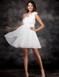 Yüksek Bel Tek-Omuzlu Kısa/Mini Chiffon Tatil Elbisesi Ile Büzgü Çiçek(ler) (020003254)