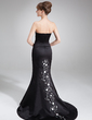 Trumpet/Mermaid Strapless Court Train Satin Evening Dress With Embroidered Beading Sequins (017039545)