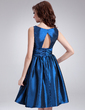 A-Line/Princess V-neck Knee-Length Taffeta Cocktail Dress With Ruffle Flower(s) (016008263)