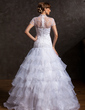 A-Line/Princess High Neck Floor-Length Organza Tulle Wedding Dress With Lace Beading Cascading Ruffles (002015170)