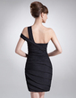 Sheath/Column One-Shoulder Asymmetrical Chiffon Cocktail Dress With Ruffle Beading (016008341)