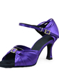 Women's Satin Heels Sandals Latin Ballroom With Rhinestone Buckle Dance Shoes (053019945)