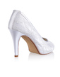 Women's Silk Like Satin Cone Heel Peep Toe Platform Sandals With Stitching Lace (047026747)