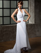 A-Line/Princess Halter Asymmetrical Chiffon Wedding Dress With Ruffle Beading Sequins (002011696)