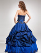Ball-Gown Sweetheart Floor-Length Taffeta Quinceanera Dress With Beading Appliques Lace Sequins (021016374)