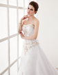 A-Line/Princess Sweetheart Chapel Train Satin Organza Wedding Dress With Embroidered Ruffle Beading (002001167)
