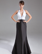 Trumpet/Mermaid Halter Sweep Train Charmeuse Evening Dress With Ruffle Beading (017020734)