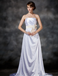 A-Line/Princess Strapless Sweep Train Charmeuse Wedding Dress With Ruffle Lace Sash Beading Bow(s) (002021292)